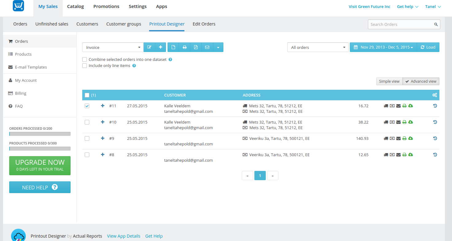 printout designer prestashop printout designer ecwid integration create invoices packing slips labels and more