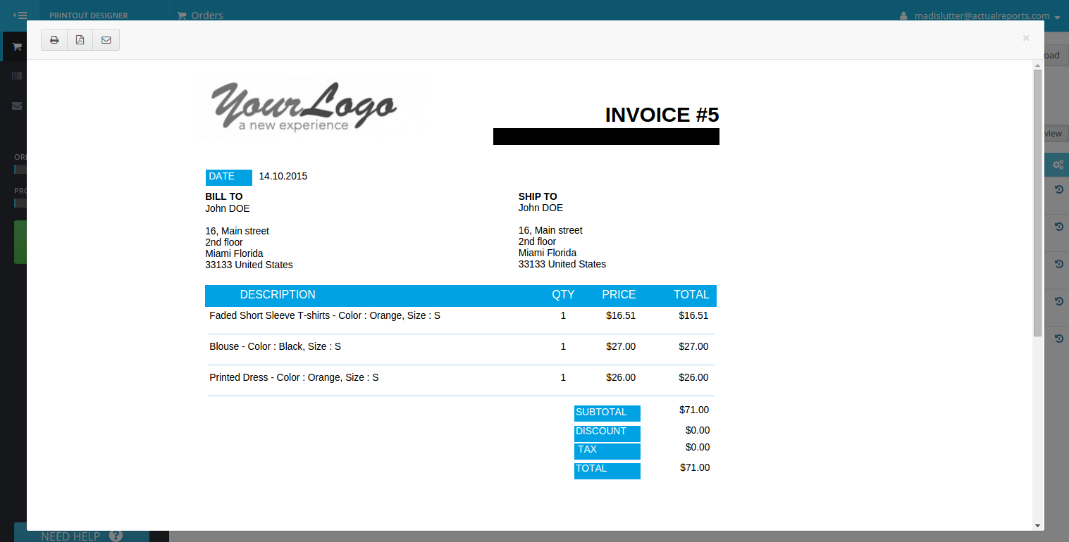 PrestaShop invoice example