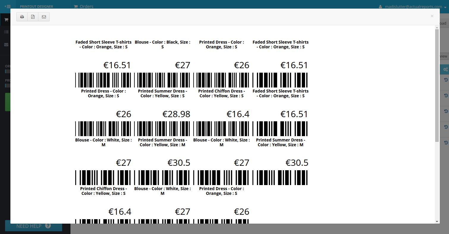 PrestaShop product barcode label example