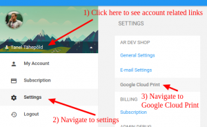 picture about Printout Designer known as Google Cloud Print options perspective within Printout Designer