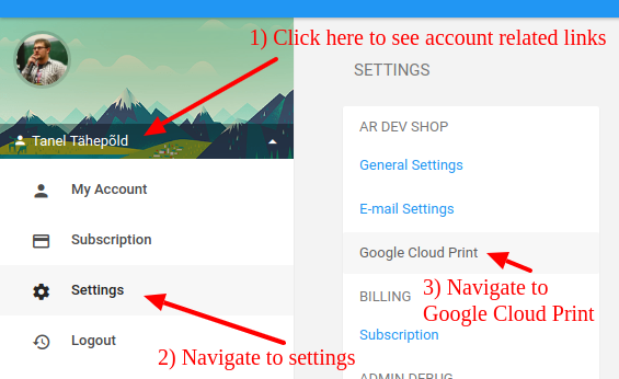 Google Cloud Print settings view in Printout Designer.